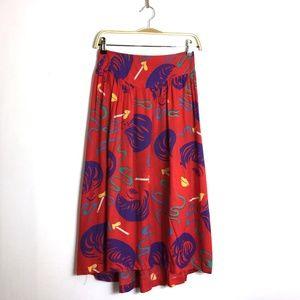 Vintage Midi Skirt Liza Minnelli Cigarette Print